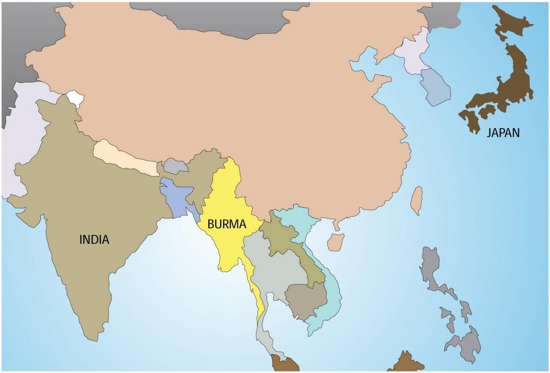 Remarquable Carte de la Birmanie - Myanmar dans la carte du monde (Asie du Sud UU-19