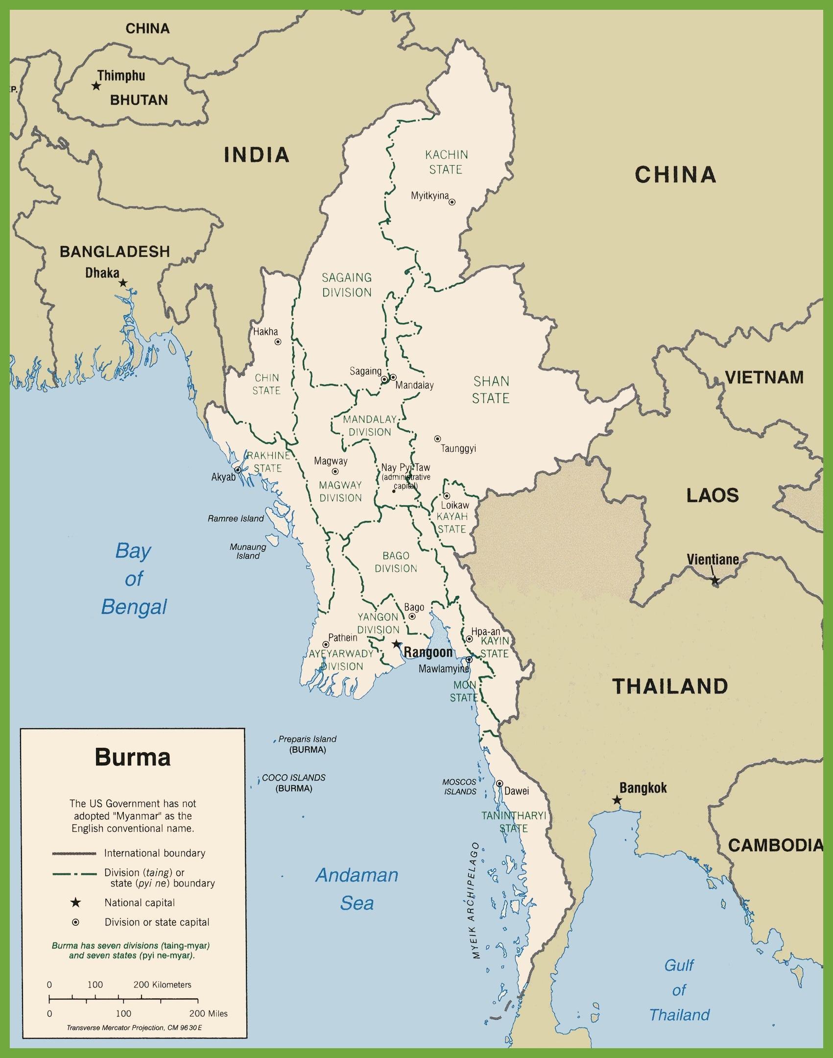 Carte Politique Birmanie.Myanmar Carte Politique Birmanie Carte Politique Asie Du
