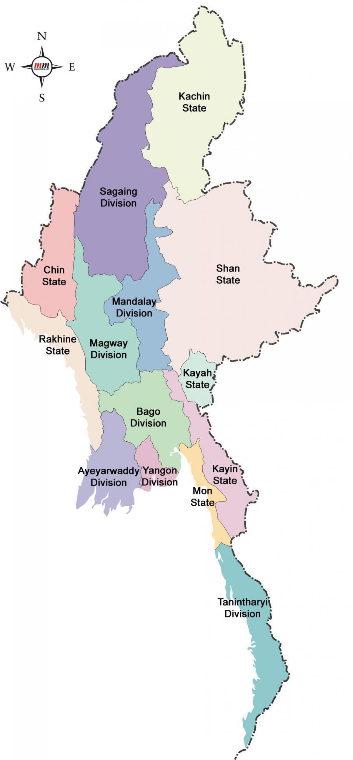 Birmanie Carte Regions.Le Myanmar Les Etats Et Les Regions De La Carte La Carte Du
